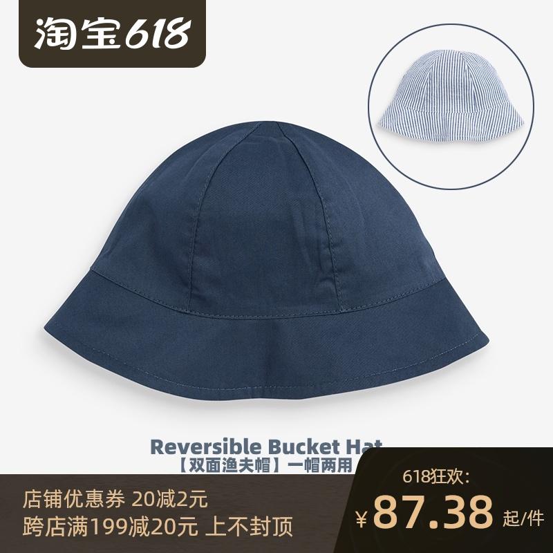 现货英国NEXT童装21春夏新品男女婴儿纯棉双面帽宝宝遮阳渔夫帽子