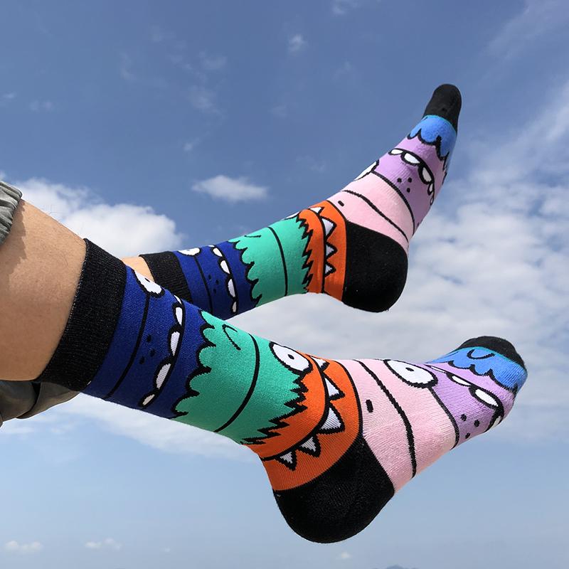 GT【怪兽凶萌】袜子男女中筒袜街头潮人卡通滑板袜毛圈运动袜子棉