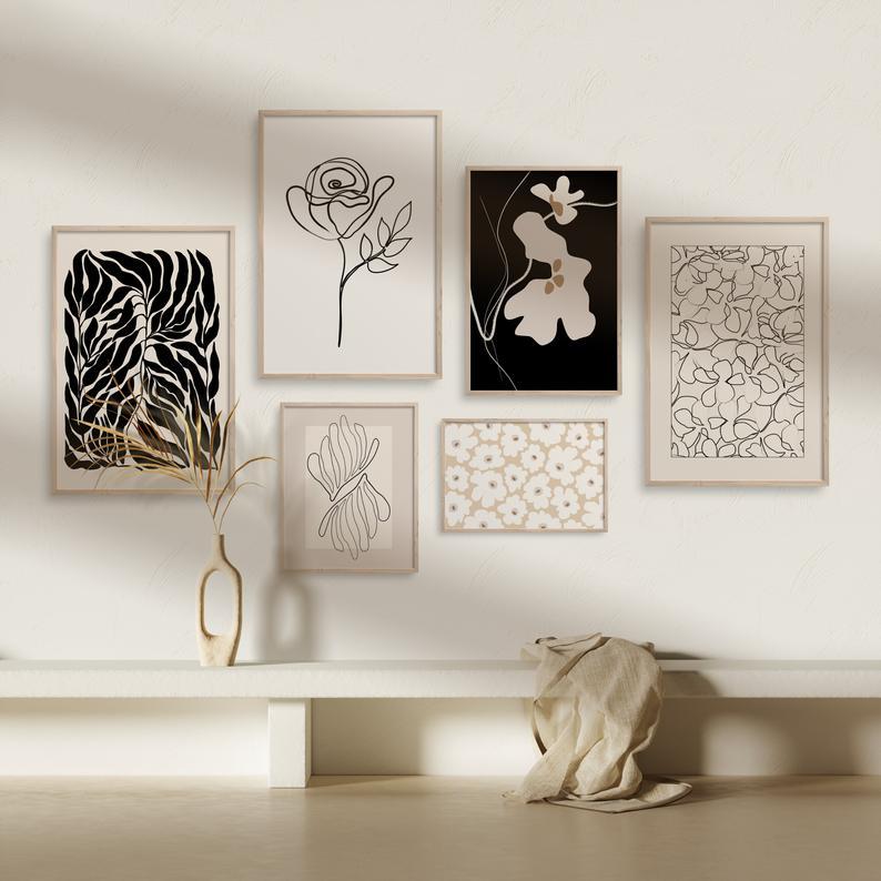 北欧小众复古抽象几何手绘花卉线条组合装饰画客厅背景墙挂画画芯