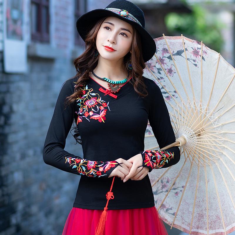 云南民族风年轻时尚春秋女装打底衫中国风刺绣花上衣新款长袖t恤