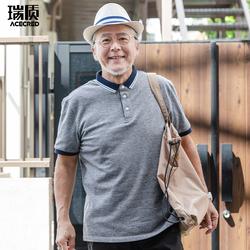 夏装爸爸装短袖T恤中年半袖中老年人男装爷爷老人纯棉衣服polo衫