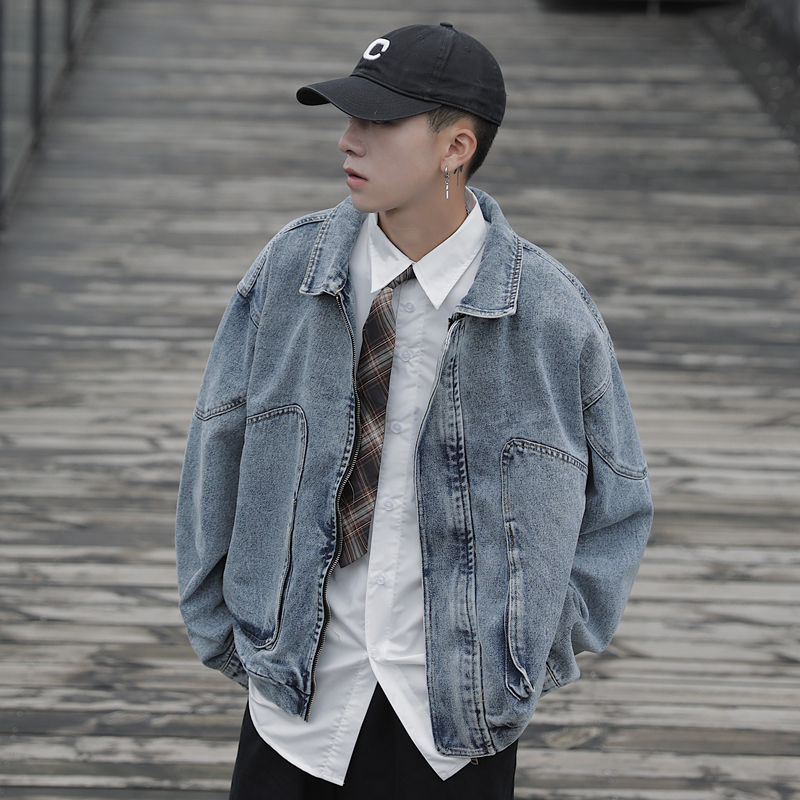 Net red denim jacket mens early autumn 2019 Hong Kong style student handsome CEC college style retro short frock coat