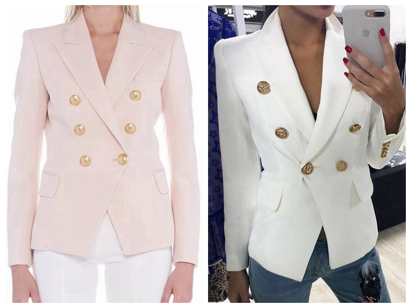 20 years spring and summer pink white slim fitting metal double breasted long sleeve coat office commuter womens cardigan suit