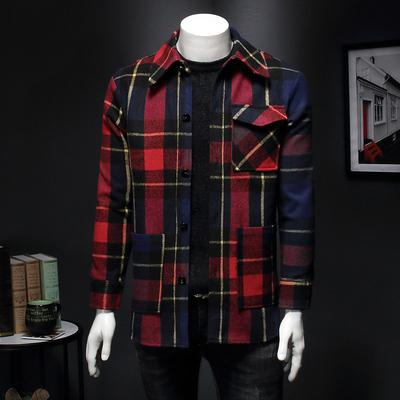 2019年秋冬新款韩版格子羊毛呢外套男西装 QT3019-1812 假模 P310
