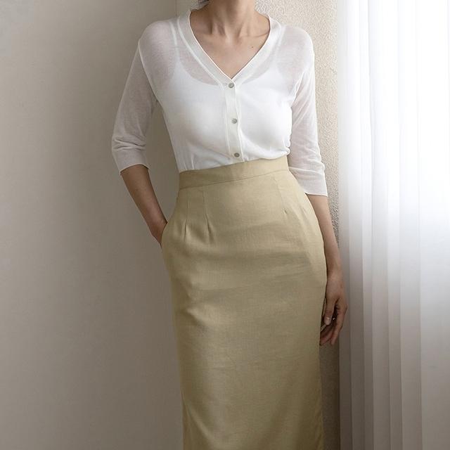 Nain韩国代购 简约基本款七分袖透视薄款修身V领针织开襟衫(0604)