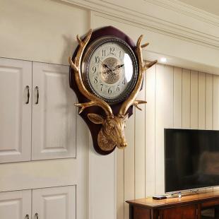 实木钟表挂钟北欧欧式创意客厅大气美式家用时尚个性新中式石英钟