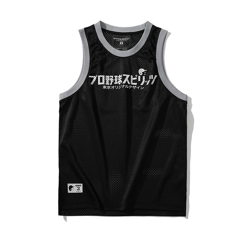 HANSBENNY2021新款日系棒球风网眼运动少年篮球球服潮流休闲背心