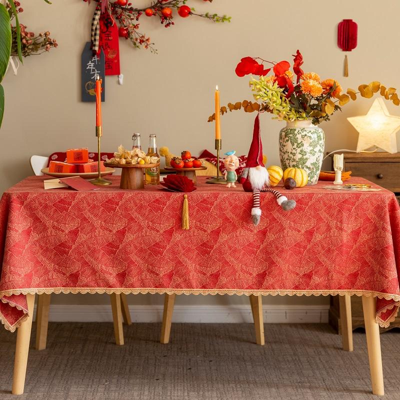 桌布布艺结婚喜庆餐桌布轻奢乔迁茶几布中国红色长方形台布圆定制