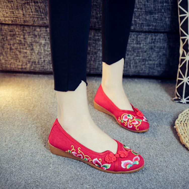 步绣缘(金莲)优雅盘扣牛筋厚底简约舒适坡跟女单民族风绣花布鞋