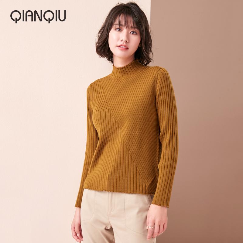 浅秋女装针织毛衣秋季新品半高领羊毛衫百搭打底偏薄交叉条纹肌理 - 封面