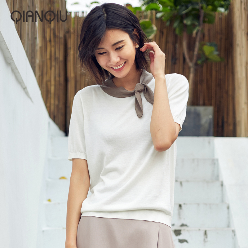 浅秋短袖T恤女装夏季新款针织打结围巾领撞色合身知性显瘦T恤短袖