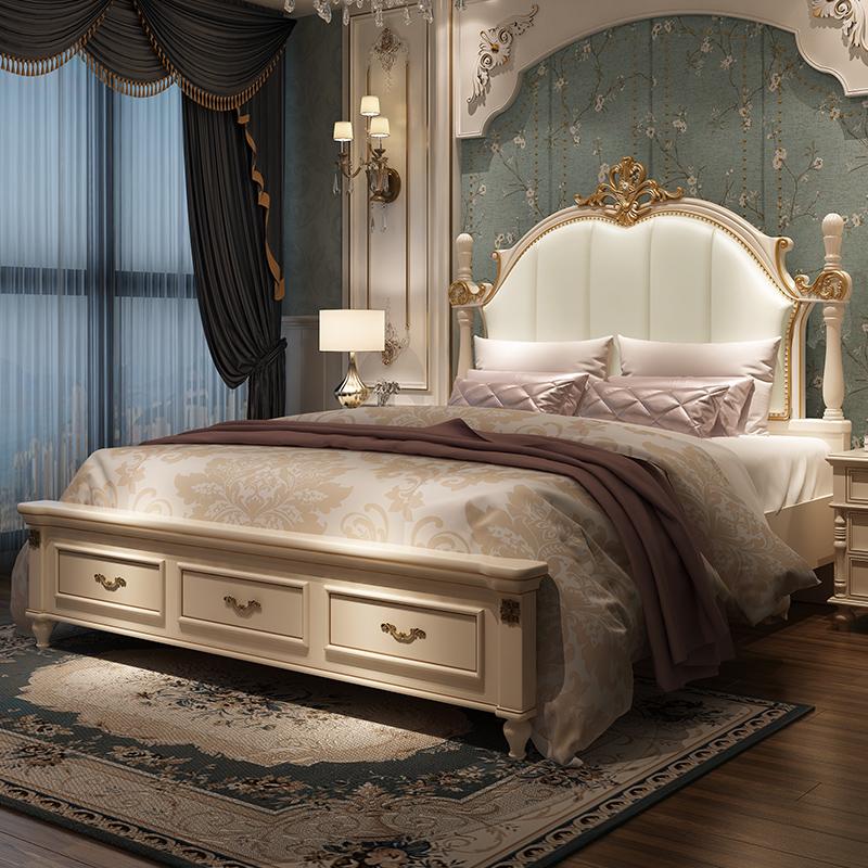 美式床双人床实木床1.8米现代简约主卧欧式床公主床1.5米床轻奢床热销238件有赠品