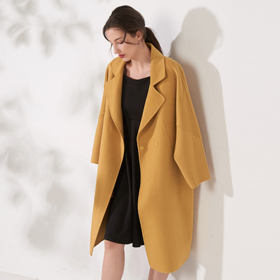 Time zone five high-quality ginger yellow woolen coat new double-sided woolen coat loose mid-length cashmere