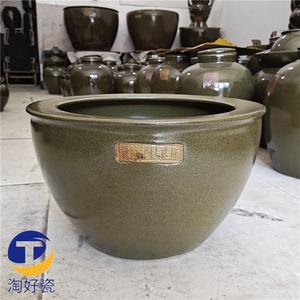陶瓷大鱼缸景德镇瓷器水缸单色茶叶末釉字画缸莲子荷花缸家居摆件
