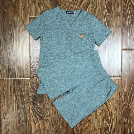 两件套男士T恤运动套装休闲体恤短袖男夏装韩版夏季新款V领男装潮