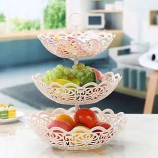 筐时尚糖果盆客厅现代其他收纳篮 欧式多层水果篮塑料零食水果收图片