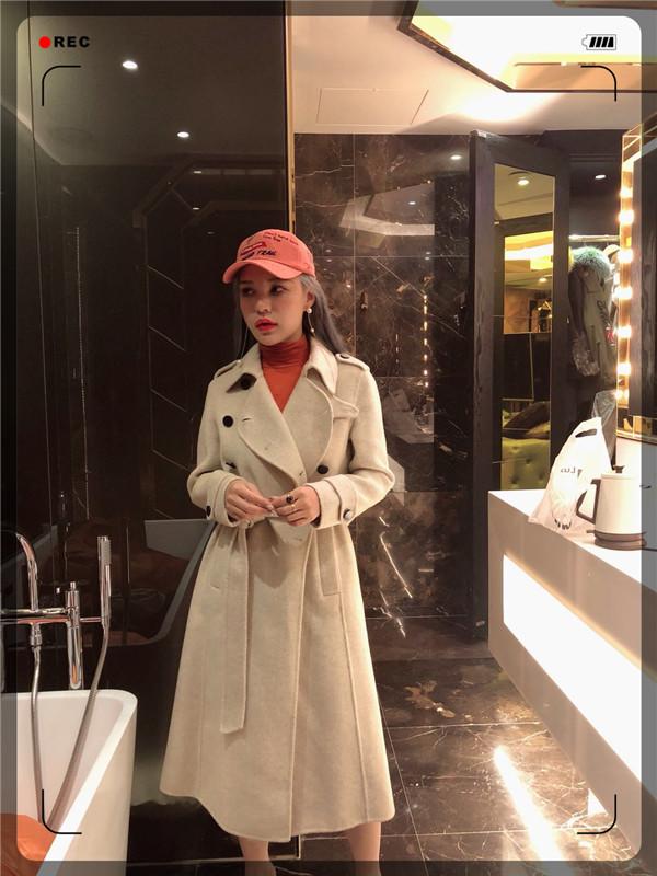 Apple姐姐2018款韩国站气质女神军风双面羊绒大衣