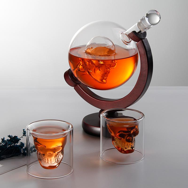 Skull head 3-piece manual high-end creative high borosilicate whisky wine sober up device