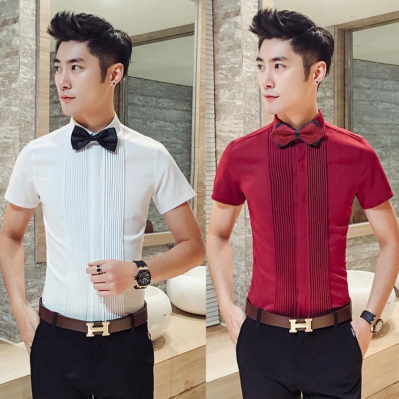 Summer wine red short sleeve shirt mens bridegroom best man group dress brothers wedding dress half sleeve summer white shirt