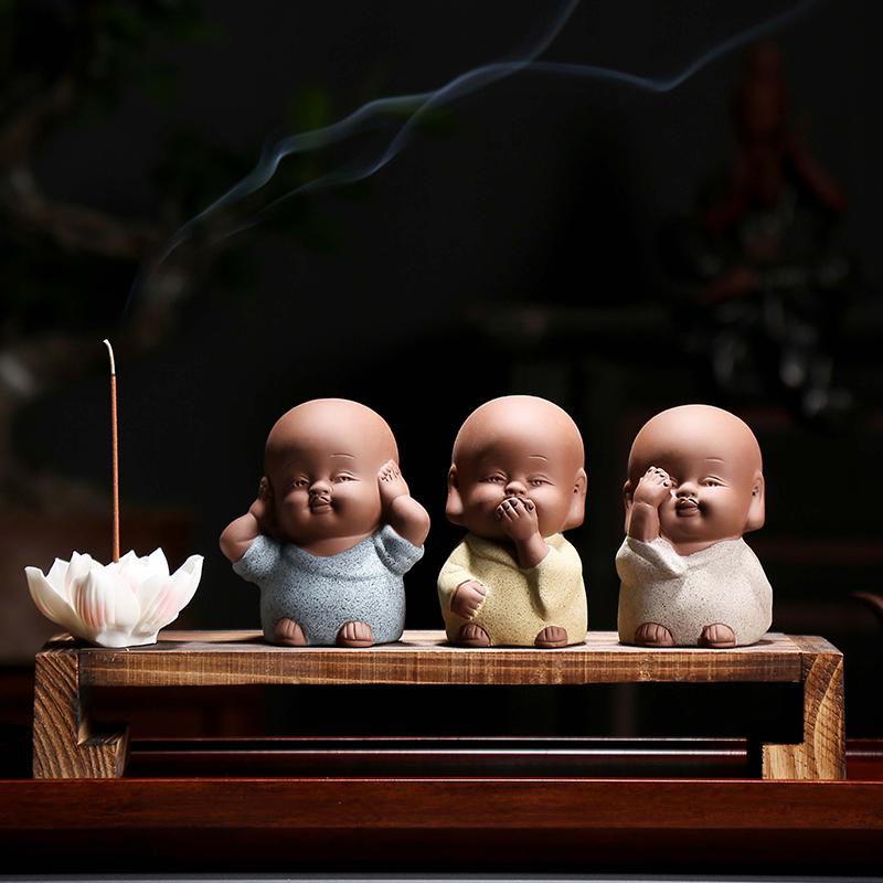 三不小和尚茶宠精品紫砂可养不看不听不说小沙弥功夫茶具可爱摆件