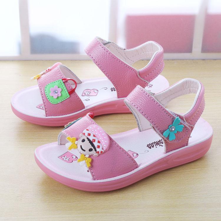 女童凉鞋2019新款夏儿童中大童学生真皮沙滩鞋女孩韩版小公主凉鞋