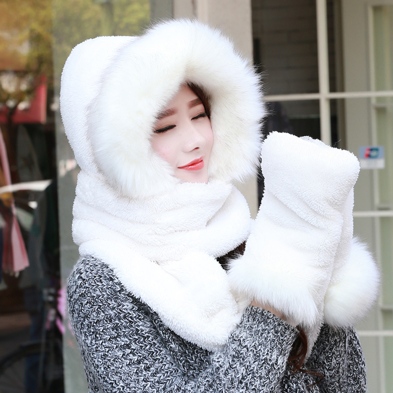 Autumn and winter womens warm scarf thickened neck with fur hat scarf gloves three in one riding shawl