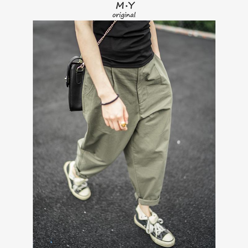 夏季军绿色宽松帅气BF男女同款工装裤女士显瘦锥形萝卜裤子潮牌酷