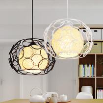 餐厅小吊灯北欧卧室阳台藤艺现代简约灯具创意个姓单头楼梯饭厅灯