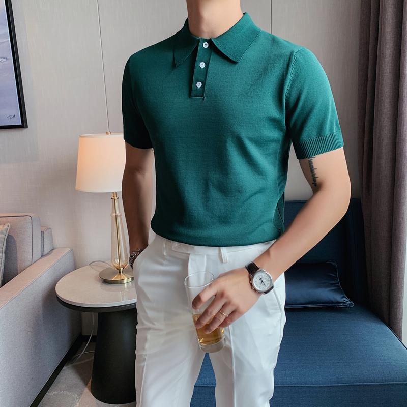 夏季型男短袖针织绿色POLO衫轻熟风 英伦修身翻领冰丝T恤 389-P53