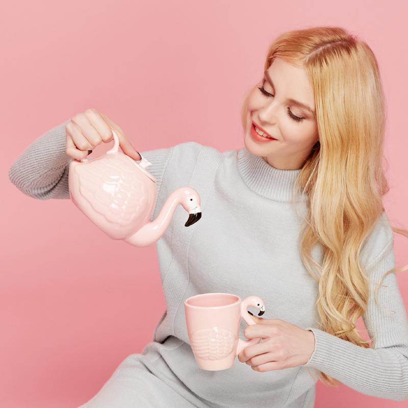 Сильный птица чайник чашка блюдо еда блюдо установите чайник крышка розовый девушка сердце керамика кофе горшок чайный сервиз