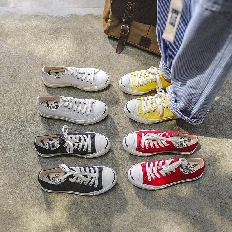 玛速主义韩版低帮百搭开口笑帆布鞋女秋2021新款女鞋平底运动板鞋
