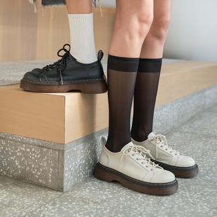 玛速主义 厚底英伦风小皮鞋女夏2021新款休闲圆头单鞋真皮牛津鞋