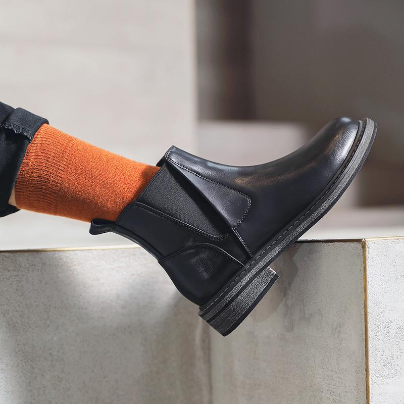 假一赔三MASOOMAKE英伦风复古切尔西靴子圆头马丁靴 新款短筒中跟靴子女冬