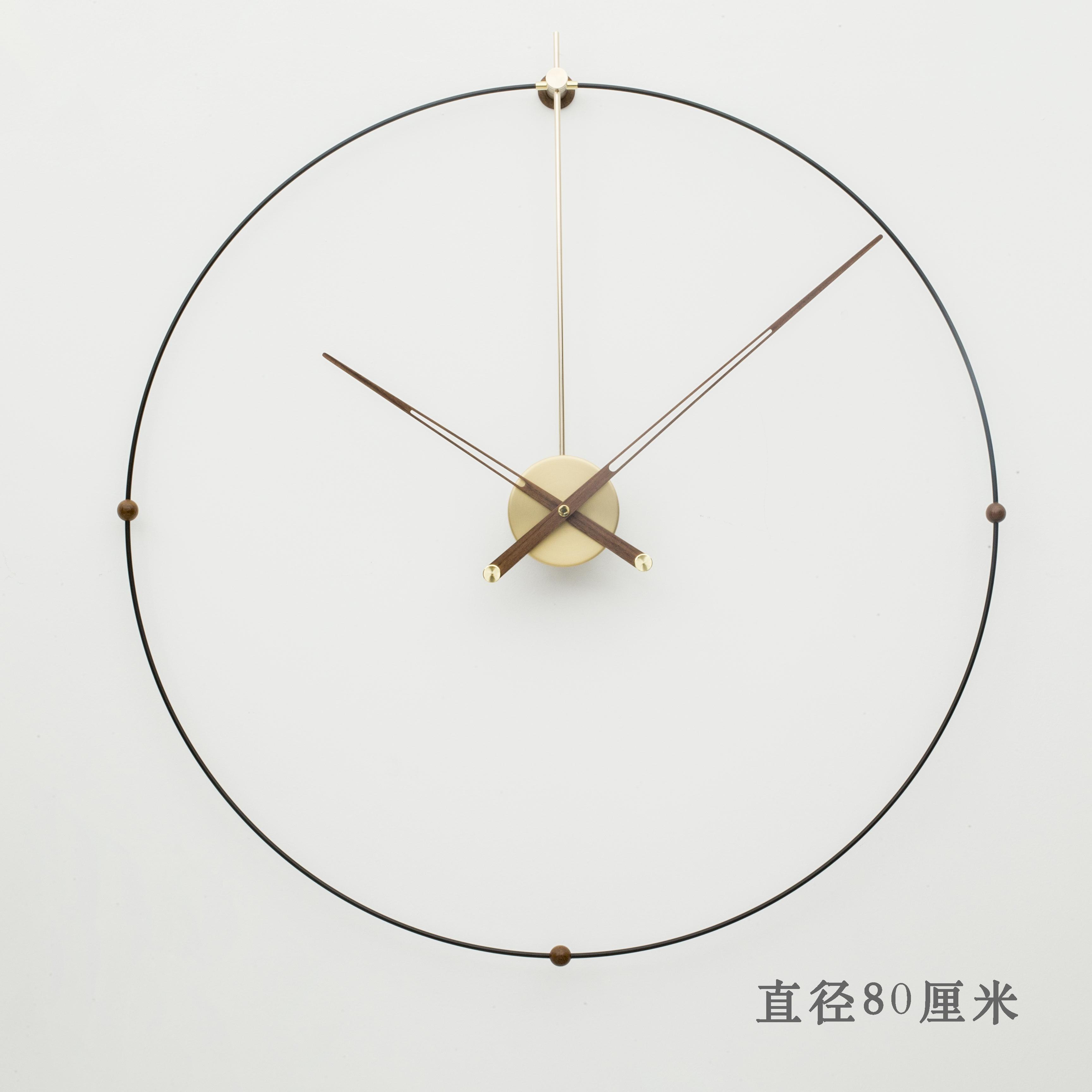 现代创意个性样板间客厅西班牙风格简约北欧美大指针石英钟挂钟表 Изображение 1