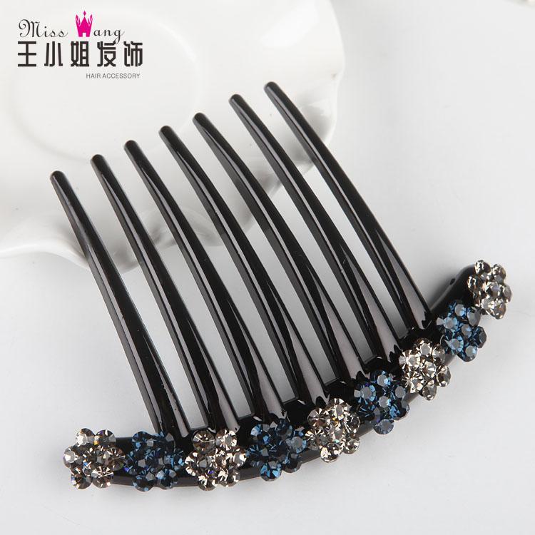 韩国发梳插梳简约水钻发插发簪刘海梳花朵发饰头饰盘发饰碎发夹