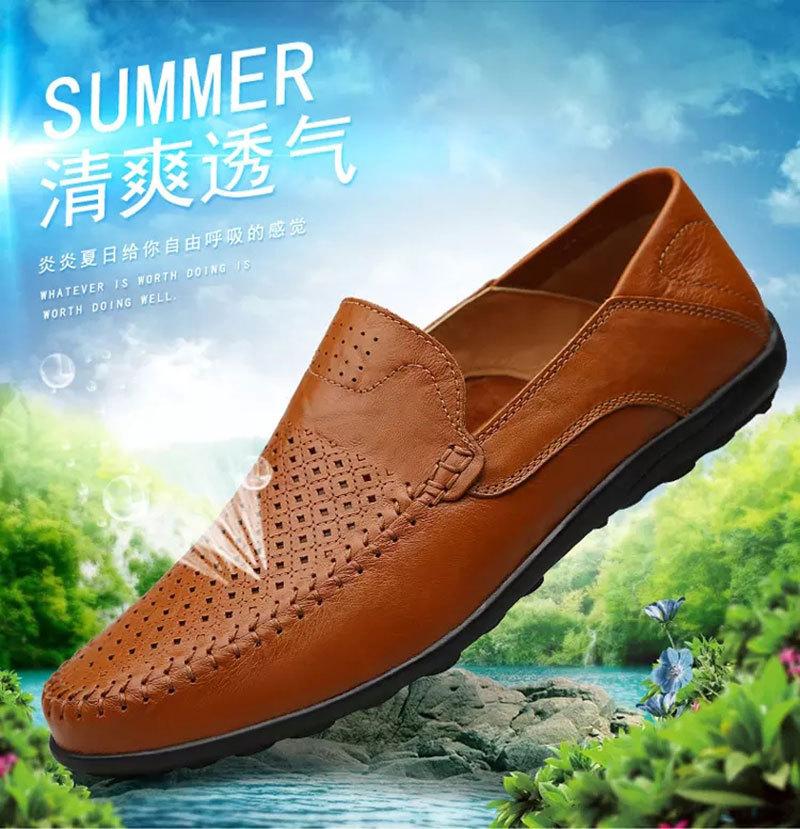 【保证牛皮】夏季新款镂空冲孔鞋时尚休闲潮鞋豆豆鞋男S8008-2
