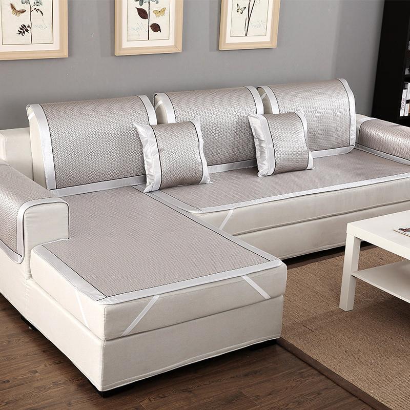 夏季涼席沙發墊夏涼墊冰絲藤席防滑坐墊布藝歐式沙發套沙發巾定做