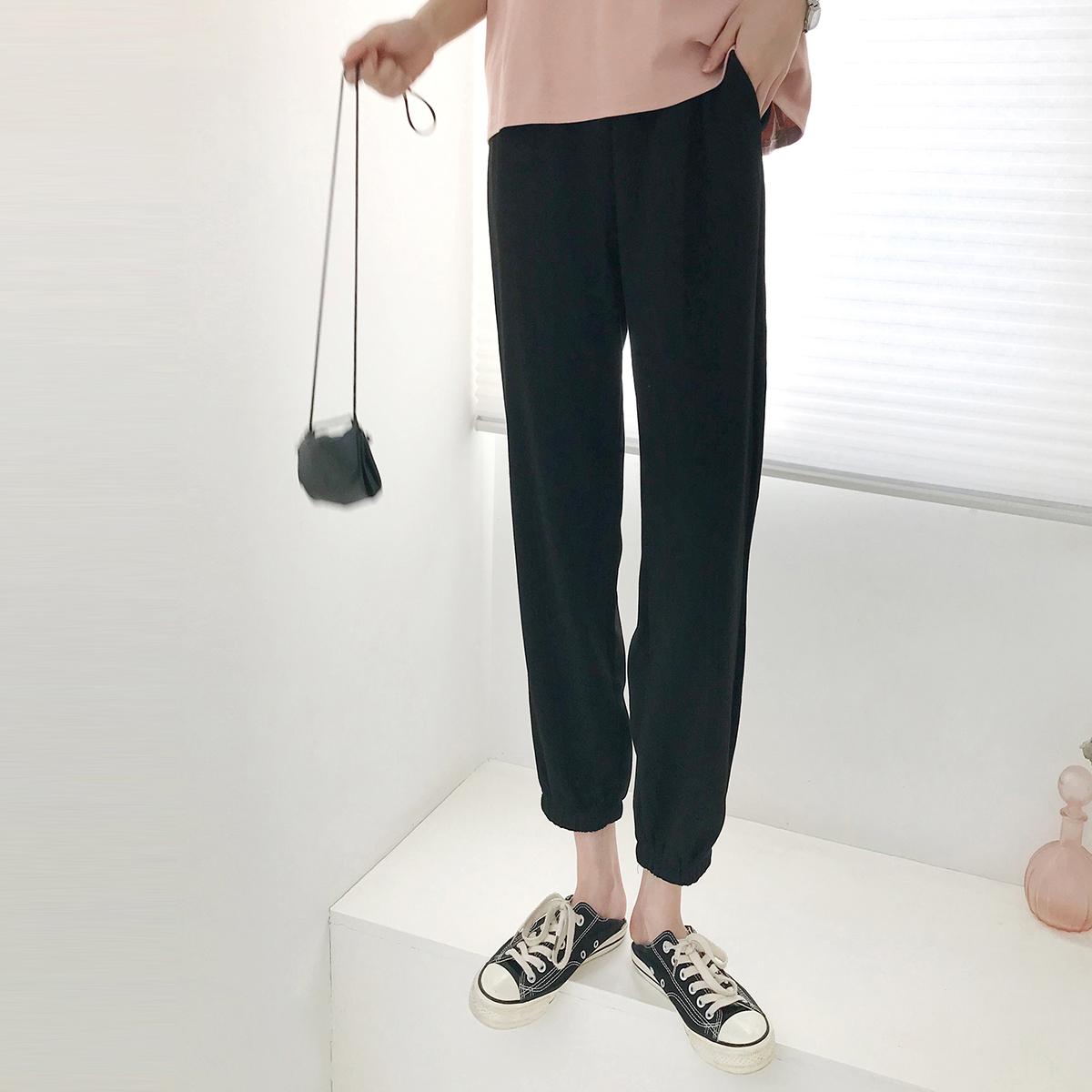金大班含烟2020夏季新款运动风黑色显瘦九分哈伦休闲束脚裤子女潮