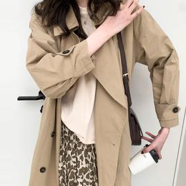【春裝新品168元】金大班中長卡其色廓形雙排扣風衣外套女安東尼圖片