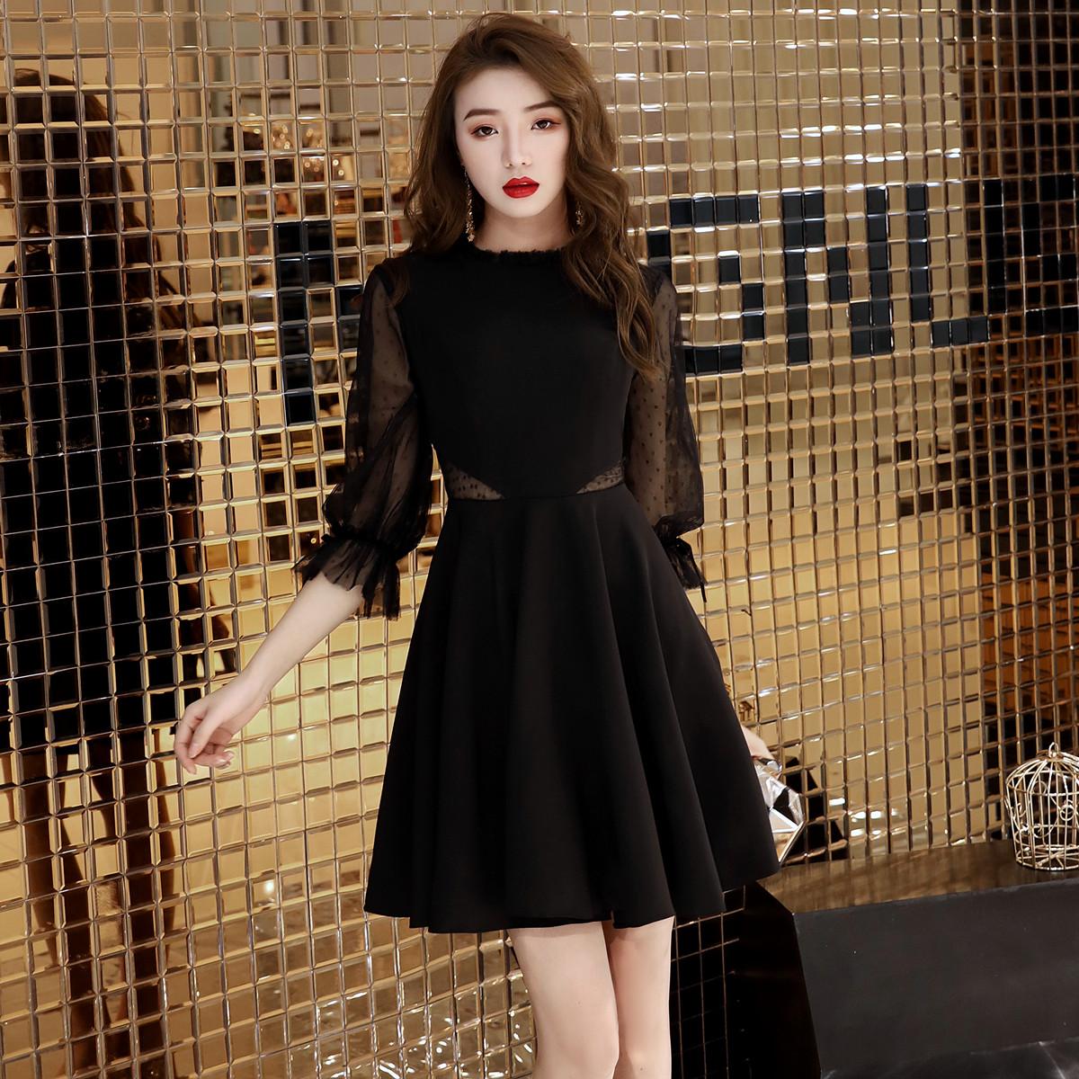 2021新款黑色平时可穿晚礼服连衣裙女宴会气质轻奢小洋装高级质感