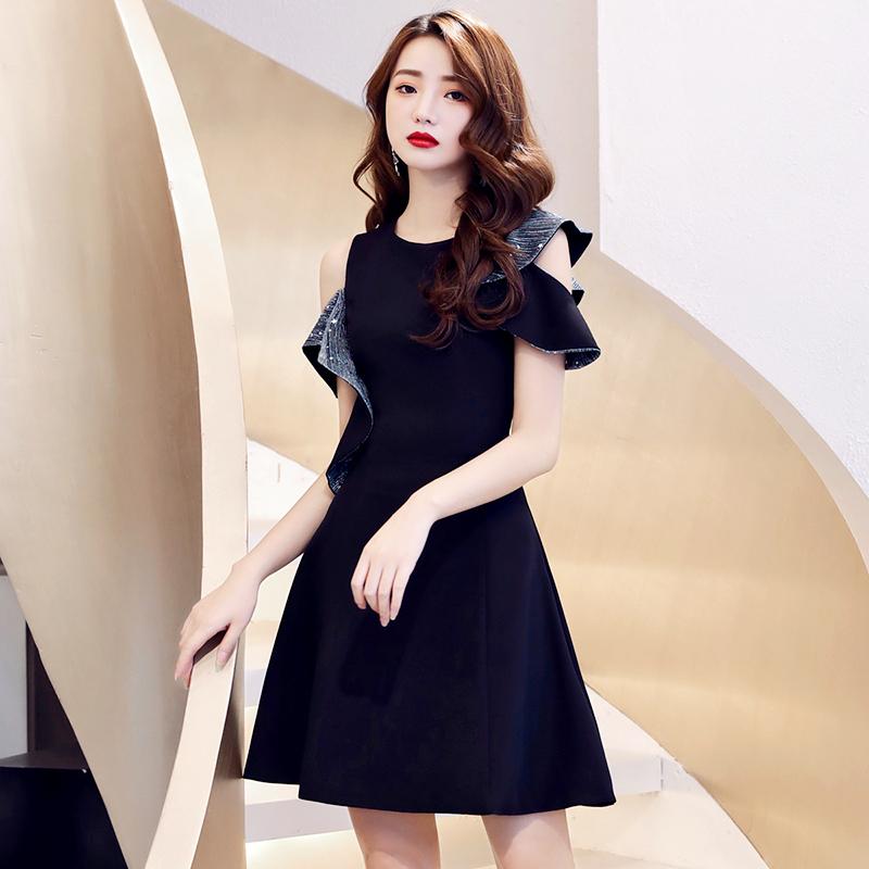 主持高级质感平时可穿短款小晚礼服裙黑色宴会气质气场女王连衣裙