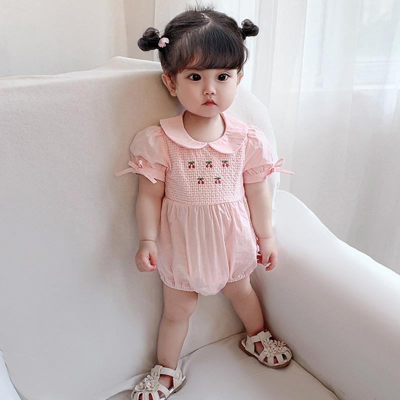 2020 new Korean version of Princess bubble sleeve girls Jumpsuit summer creeper bag fart hatsuit Lapel embroidery