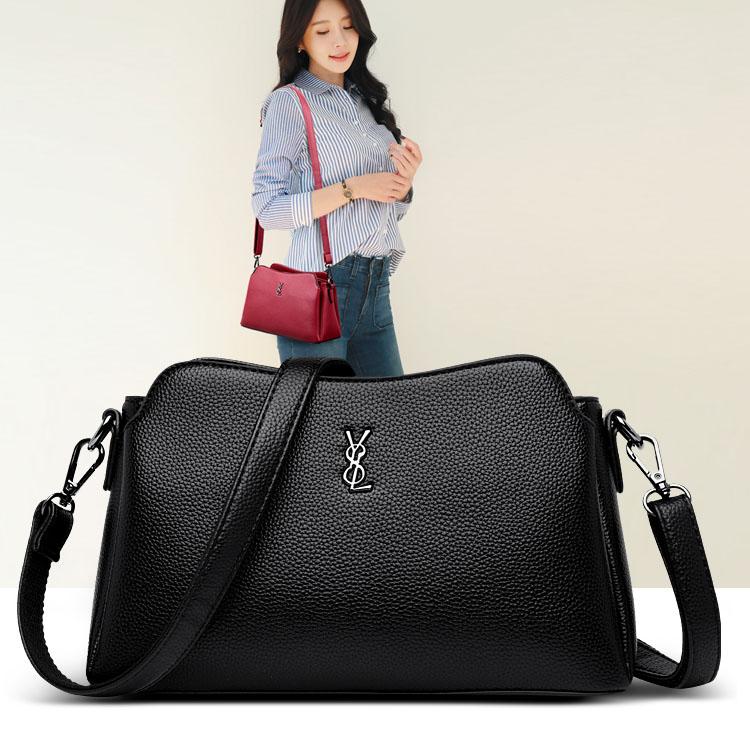 休闲新款女款包包气质单肩斜挎包中小款挂包女装手袋三隔层可放伞