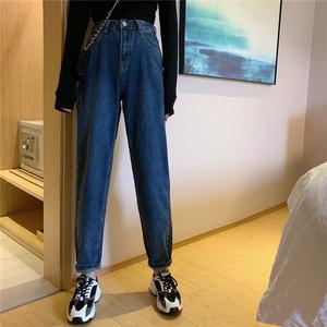 亚博娱乐平台入口实价-控价47 韩版新款萝卜显瘦高腰宽松九分裤小脚哈伦牛仔裤