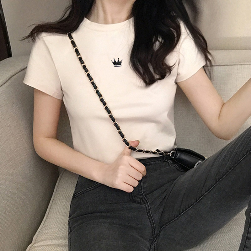 Summer 2020 new short sleeve top Korean ins trend crown embroidery student T-shirt slim fitting womens bottoming shirt