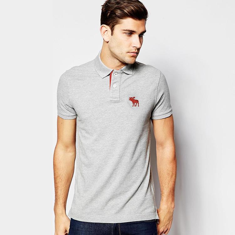美国正品Abercrombie Fitch男士翻领短袖polo衫夏季修身t恤男潮