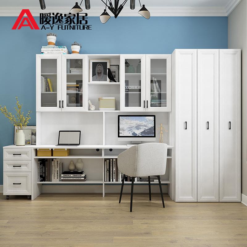 暧逸简约现代书柜电脑桌组合双人书架书桌欧式抽拉式书房家具柜子