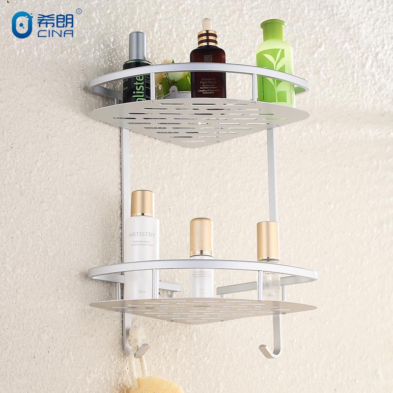 衛浴掛件太空鋁雙層三角籃衛生間置物架 浴室轉角架 化妝品架壁掛