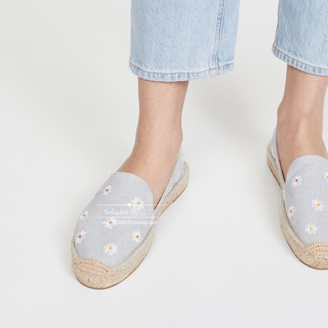 美国正品2020新款Soludos厚底雏菊草鞋渔夫鞋帆布麻底平底夏女鞋