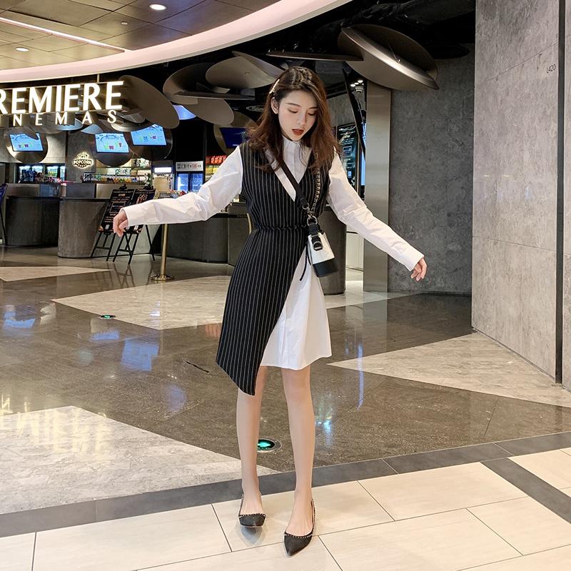 朵維思春季新款假兩件條紋拼接收腰系帶襯衫式連衣裙女